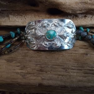 Jewelry - Sterling Silver and Genuine Turquoise Bracelet